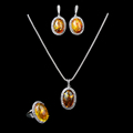 Hight Quality Antique Silver Plated Faux Amber Jewelry Vintage Fashion Jewelry Set For Women
