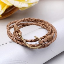 New pulsera Mens bracelets 2015 jewelry anchor bracelet Men Pulseras Hombre men leather bracelet Christmas gift leather bracelet