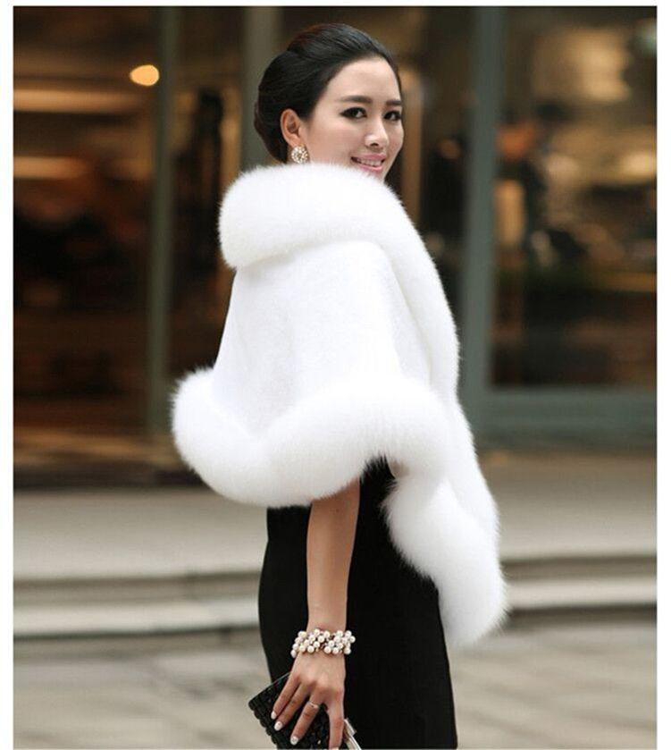 2016 New Designs Bridal Shawls Wedding Jacket Wrap For Bride Faux Fur Shawl White Black Red Luxury Evening Dress Wedding Bolero(China (Mainland))