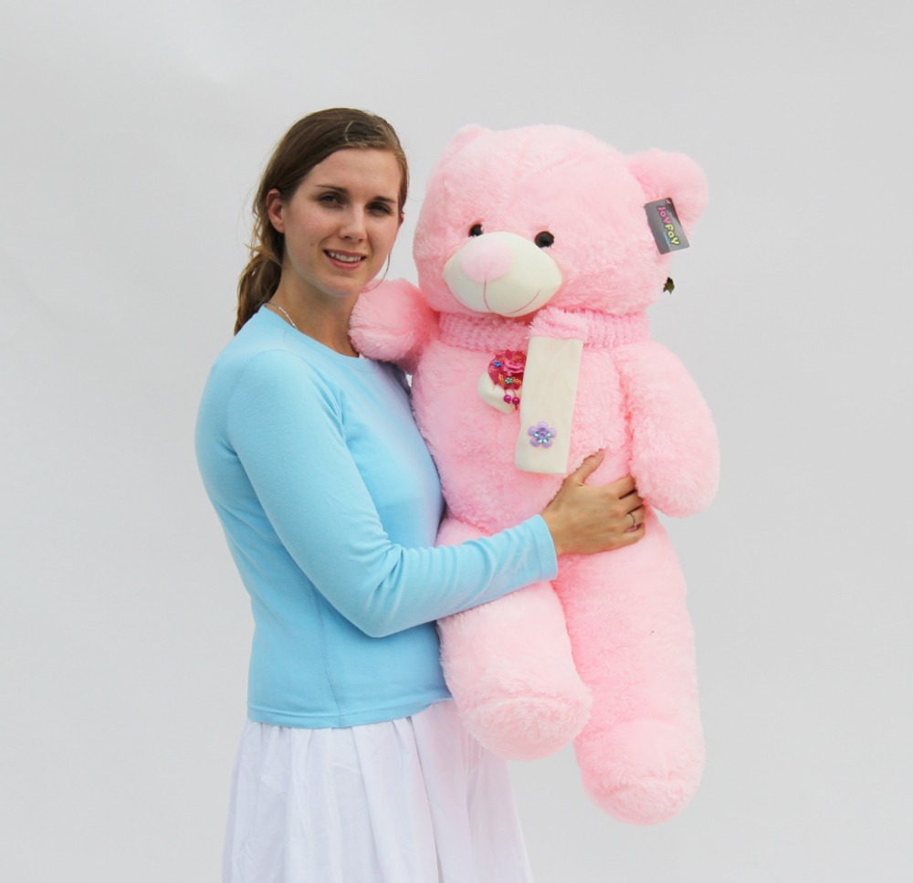 "Joyfay Big 39"" 100cm Pink Teddy Bear Stuffed Plush Toy Best Valentine's Gift for Girlfriend Lovers(China (Mainland))"