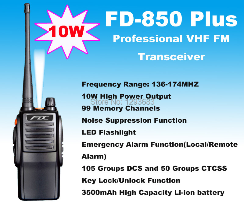 New 2014 FDC two way radio 10W FD-850 Plus waterproof VHF radio Professional FM Transceiver waterproof walkie talkie 10km 10w(China (Mainland))