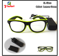 Yellow Flaring Glasses Bar Party Fluorescent Dance DJ Bright Glasses EL Wire Fashion Neon LED Light Glow Rave Luminous Glasses