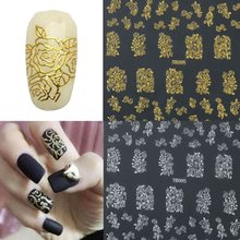 1 Sheet 52pcs Fashion Women Beauty Flower Nail Stickers Manicure Decals Stamping French Nail Art 3D DIY Tips Beauty Tools