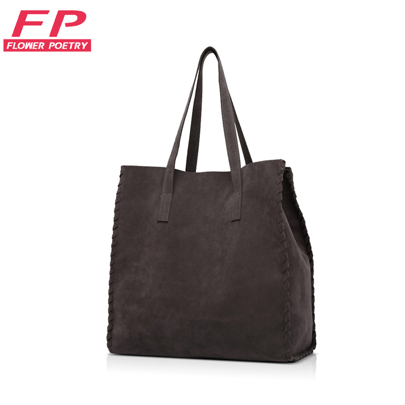 2016 New Women Handbag Suede Leather Shoulder Bag For Ladies Grey Casual Shopping Bag Large Capacity Tote Top-handle bags Bolsos(China (Mainland))