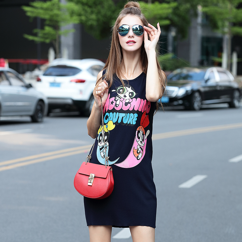 Euro 2016 Summer New Fashion Designer Sleeveless Knitted Cotton O-neck Letter Cartoon Print Elegant Women Casual Dress(China (Mainland))