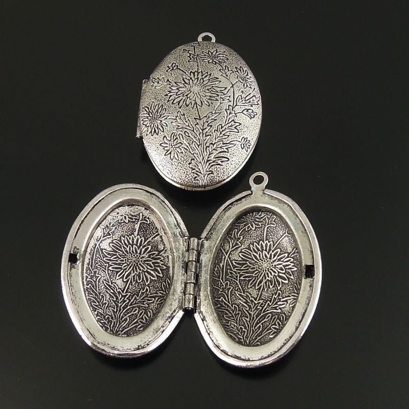 Antique Silver Tone Brass Oval Etching Flower Brass Charm Locket Pendant 38*27mm 3pcs 34243(China (Mainland))