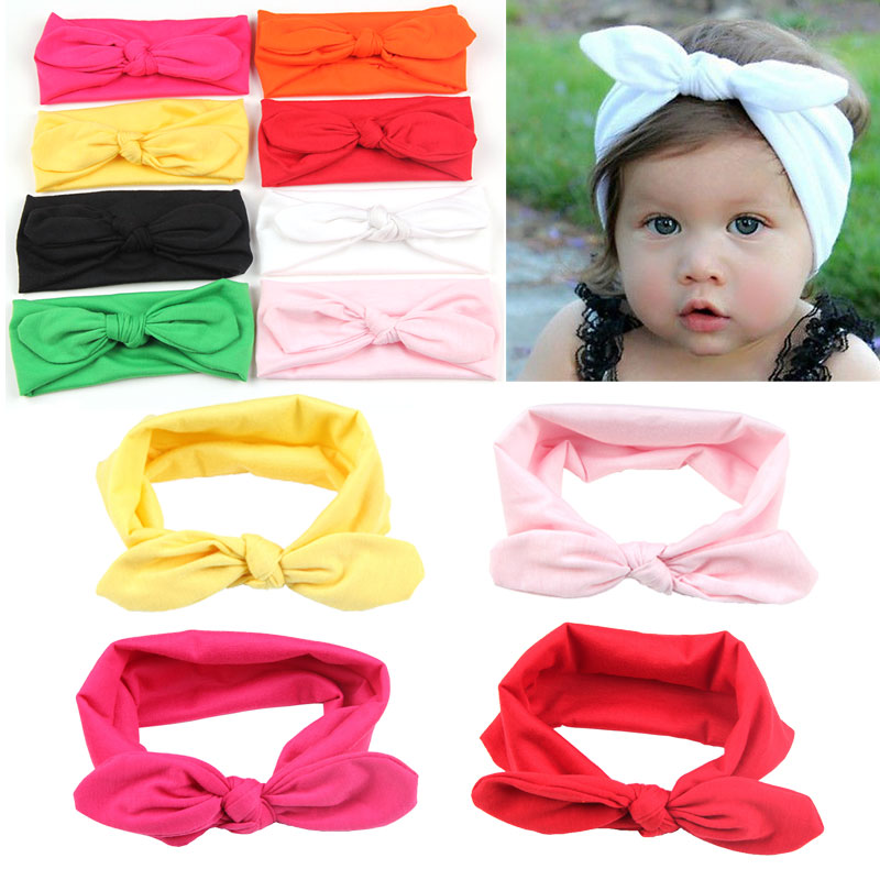 baby bow elastic knot headband beach Variety rabbit ears bow hair band solid cloth headband candy color hair accessories(China (Mainland))