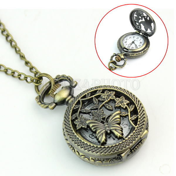 Retro Vintage Bronze Butterfly Flower Hollow Quartz Pocket Watch Chain Necklace