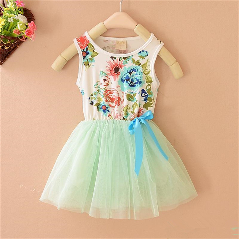 2015 summer floral baby girl dress princess tutu dress girl dress 3 color for 2-5 age infant dresses kids clothing(China (Mainland))
