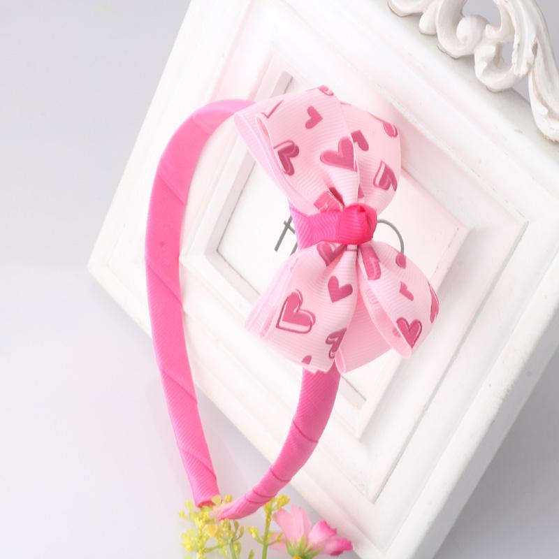 Lovely Girls Hair Bands Solid Ribbon Bow Headbands Baby Ribbon Dot Band Kids Hair Accessories 1PC Flower Bowknot Heart Headdress(China (Mainland))