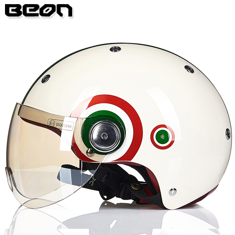 BEON unisex motocross motorcycle retro vintage jet helmet capacete motoqueiro casco with dual lenses open face safety cap(China (Mainland))