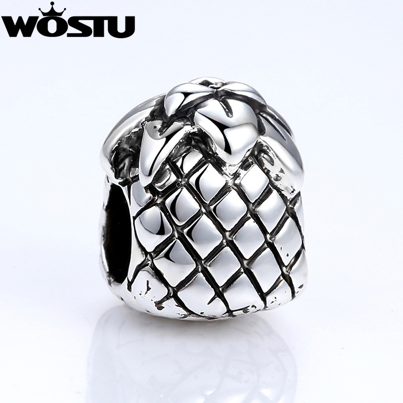 High Quality Tropical Pineapple Silver Charm Beads Fit Original Pandora Bracelet Bangle For Women DIY Jewelry Making(China (Mainland))
