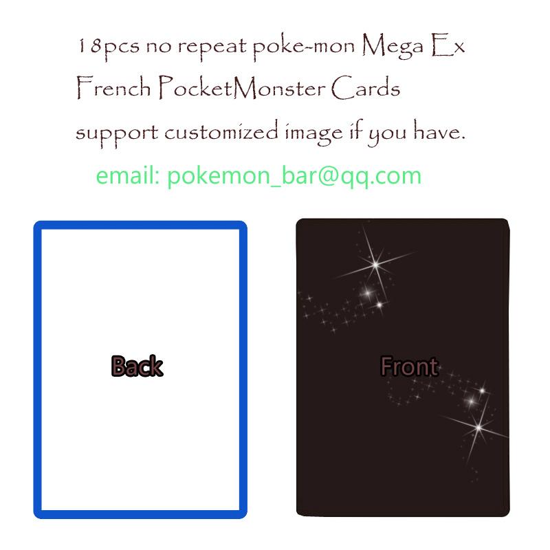 18 French Pokemon mega EX cards pocket monster toys fiigure proxy board game mtg foil shining,support customized image,album(China (Mainland))