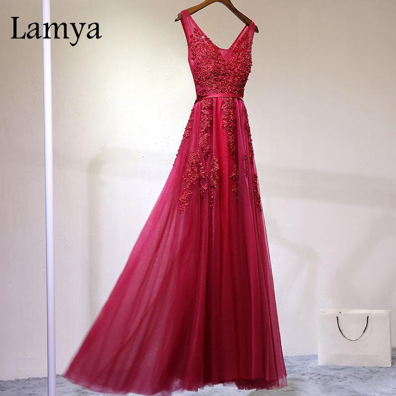 Lamya Elegant Pearl A Line Lace Prom Dress 2017 New Long Red Blue Prom Dress V Neck Sexy Formal Prom Dress For Wedding(China (Mainland))