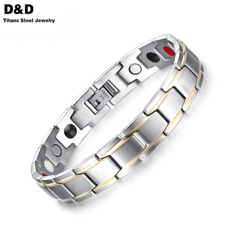 2016 New Magnet Bracelet Bangle For Men Stainless Steel Health Care Magnetic Gold&amp;Silver Plated SBRM-004<br><br>Aliexpress
