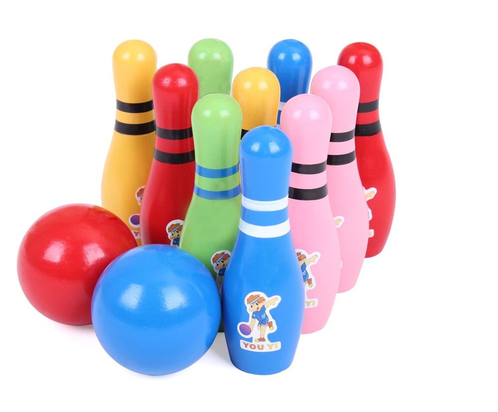 Madera de calidad superior bola de bowling del juguete for Bola juguete