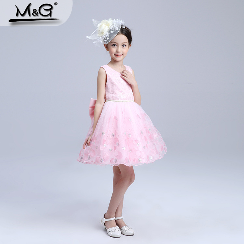 New cute Baby princess costume pink dress summer brand toddler girls clothes snow queen Elsa party dress girl wedding ball gowns(China (Mainland))