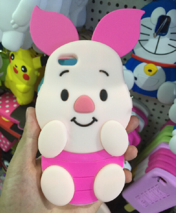 Free Shipping Cute Cartoon 3D Piglet pig Soft silicon Phone Back cases For iPhone 6 Plus 5.5inch(China (Mainland))