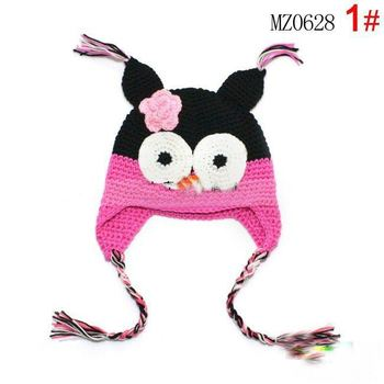 Special Offers ! Cartoon Designs 100% Handmade Children Crochet Hats Various Animal Styles Baby Owl Beanie hat Kids Caps  Gift