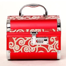 Hot Sales High Quality Jewelry storage box Professional Cosmetic Case Portable Women Metal Frame Makeup Case Suitcase Makeup Bag(China (Mainland))