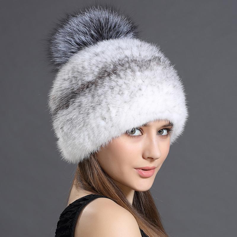 womens hat winter fall beanies mink fur canadian silver