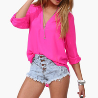 2015 Newest Women Chiffon Blouse V-neck Long Sleeve Casual Women Tops Temperament Solid Shirts Plus Size