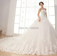Noble luxury Cathedral Ball Gown Wedding Dresses Sweetheart Applique Beading Bow Tulle Court Train Vestidos De Novia(China (Mainland))