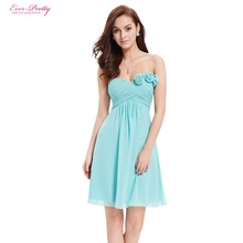 Strapless Flower Ruffles Padded Chiffon Bridesmaid Dress
