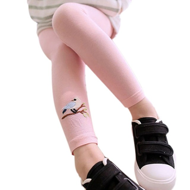 Детские дети девочки хлопковые брюки вышивка птица теплый эластичный леггинсы брюки 2016 новых бесплатная доставка