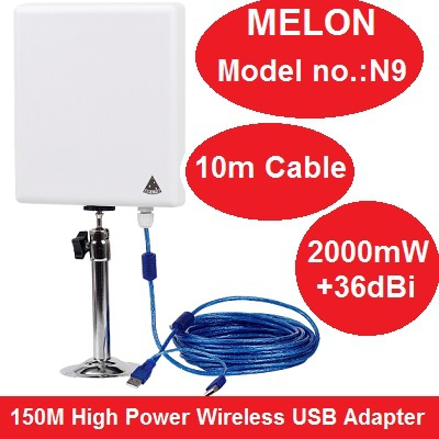 MELON N9 Outdoor 150M High Power Wireless USB Adapter USB Wlan Signal Enhancement Amplifier Receiver Support Soft AP 10M Cable(China (Mainland))