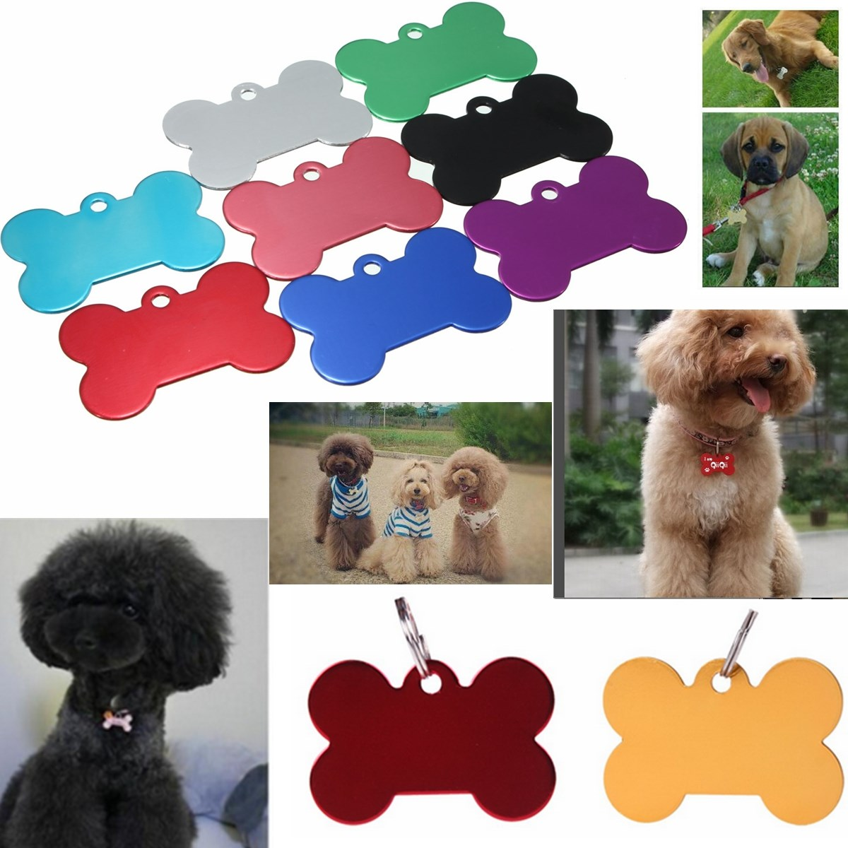 2pcs/Lot Dog Identification Tag Pet Tag The Name Dog Cat Animal Name Charm Tag Metal Blank Pet ID Tags(China (Mainland))