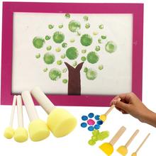 4PCS Sponge yellow Paint Brush Wooden Handle Painting Graffiti Kids DIY Doodle Toys Art Children's Painting Tool Drawing Toys(China (Mainland))