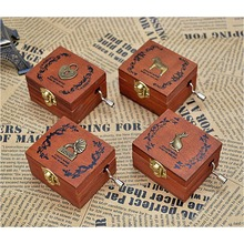 New Exquisite Hand Crank Musical Box Retro Vintage Wooden Music Box 4Different Patterns for Option Beautiful Decorative Patterns(China (Mainland))