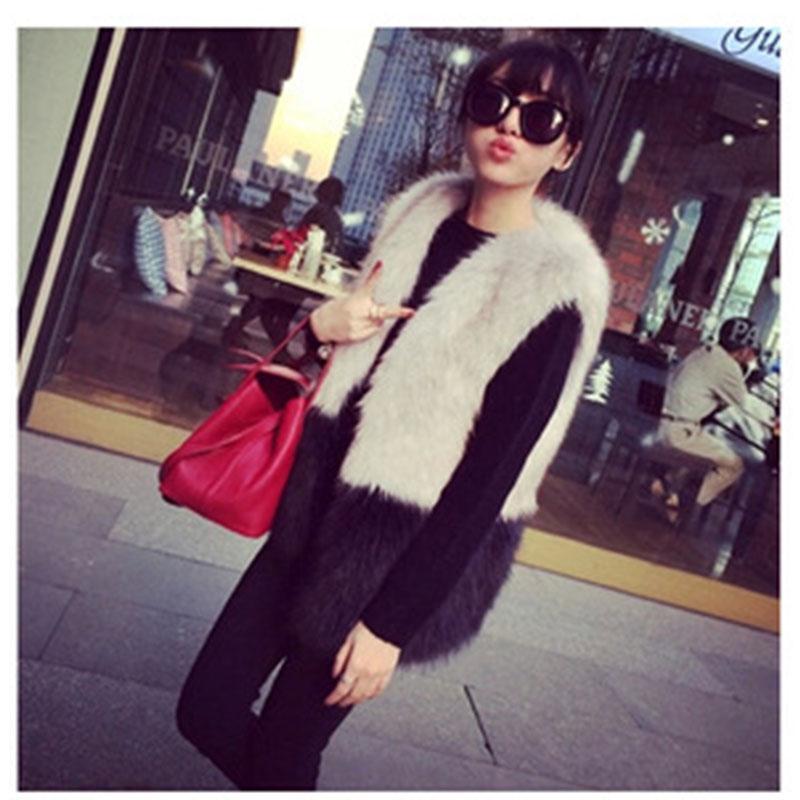 Fashion Women Winter Large Size S-XXXL Faux Fur Sleeveless Vest Black Mix Gray Color Ladies All Match Clothes(China (Mainland))