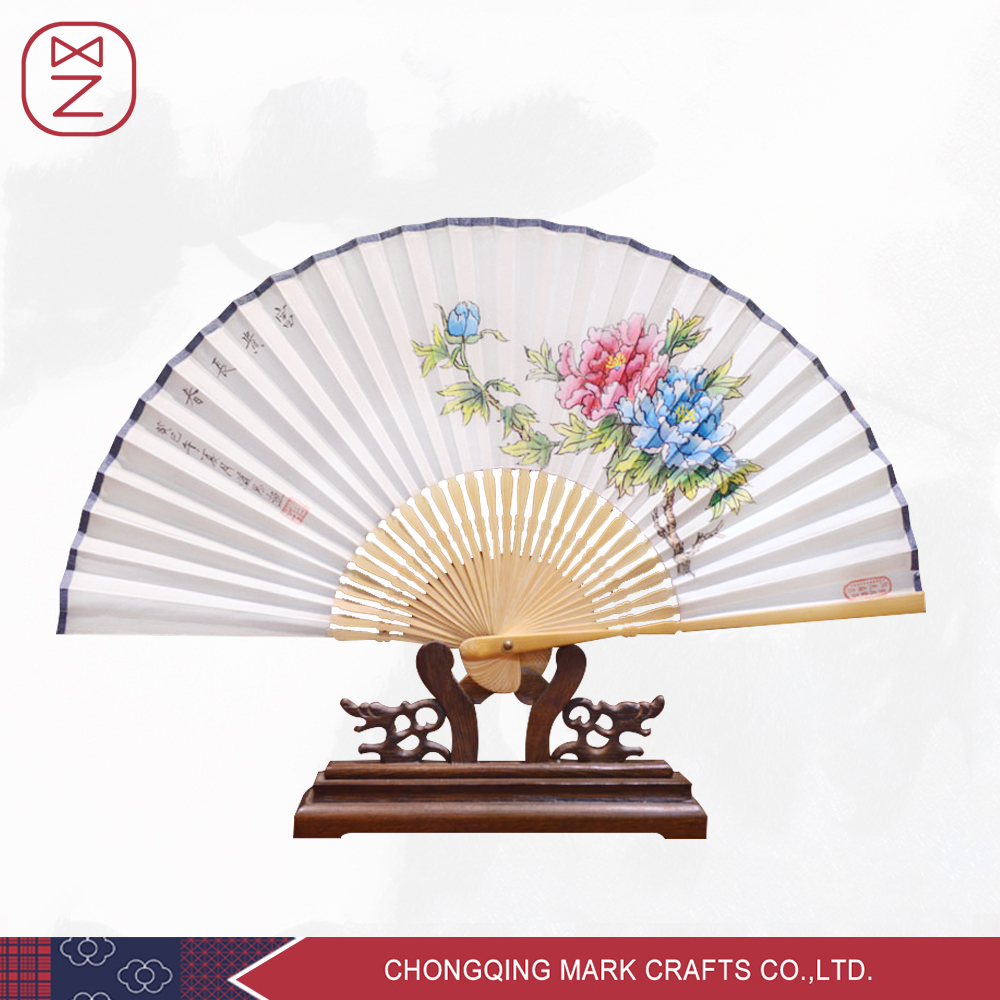 Hand Held Silk Folding Fans with Bamboo Frame Hand Painted Chinese Pink Peony Flower Pattern-100% Handmade Oriental Chinese(China (Mainland))