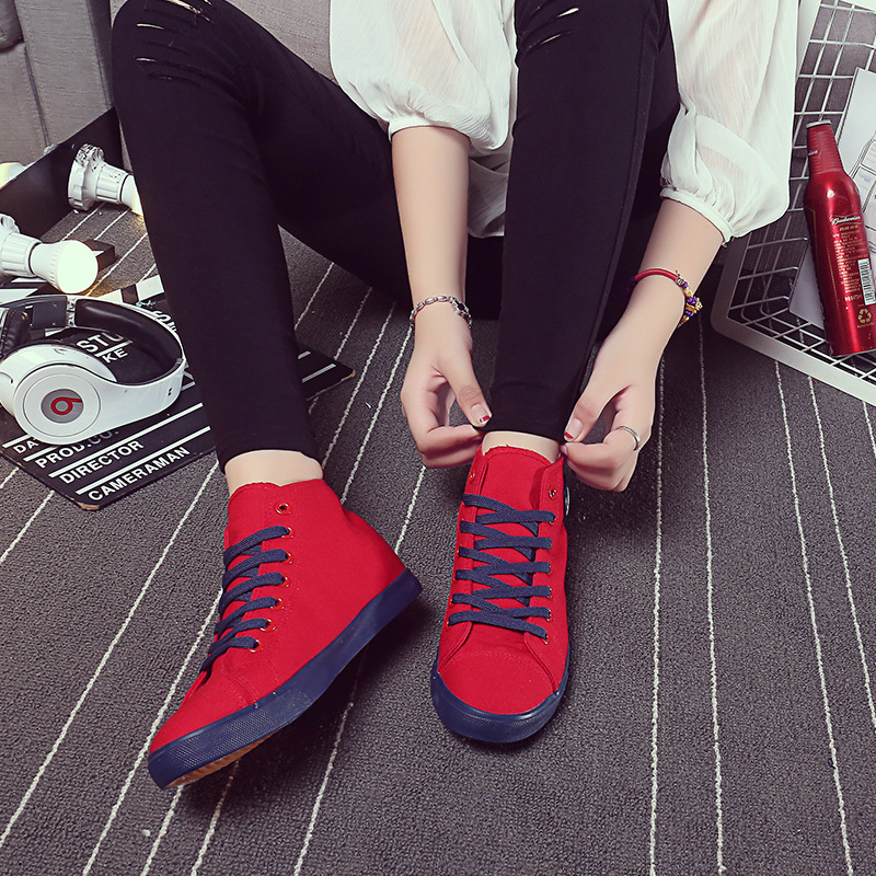 2015 summer and autumn high-top canvas shoes female Korean student flat heavy-bottomed platform shoes casual shoes shoes tide A1