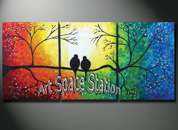 Hand painted natural scenery painting tree of life rainbow - Como hacer cuadros modernos ...