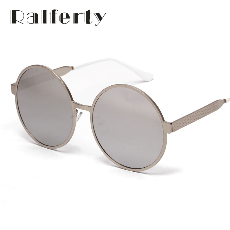 Ralferty Vintage Women Men Round Sunglasses Punk Mirrored UV400 Sun Glasses For Female Male, Oversize Retro Shades Oculos 1858(China (Mainland))