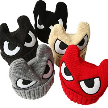 2016 Big Eyes Caps for Children OX Horn Winter Hats for Boys Warm Knitted Caps Girls Kids Beanies Hip Hop Solid Cartoon Skullies
