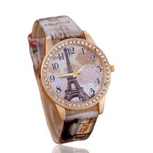4 Colors Fashion Diamond Casual Watch Women New Fashion Rose Flower Quartz Wristwatch Women Leather Strap Relojes Free Shipping