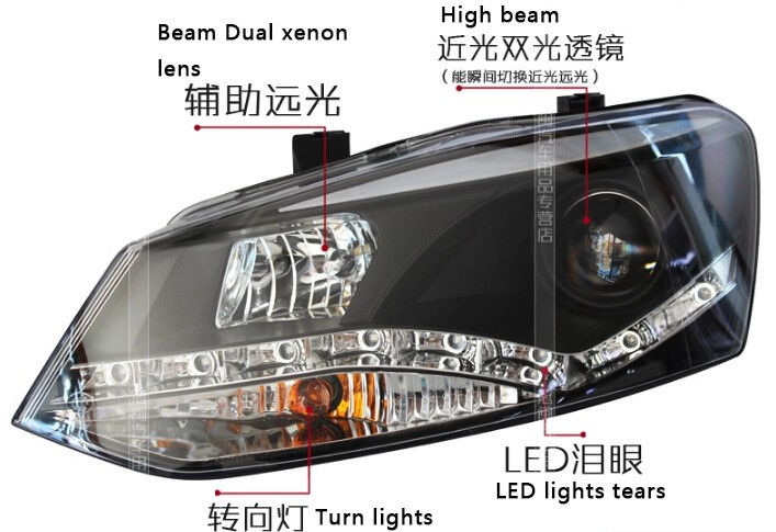 Auto Clud 2011-2012 For vw polo headlights Angel Eyes LED DRL bi xenon lens For vw POLO HEAD LAMPS car styling led bar H7 parkin
