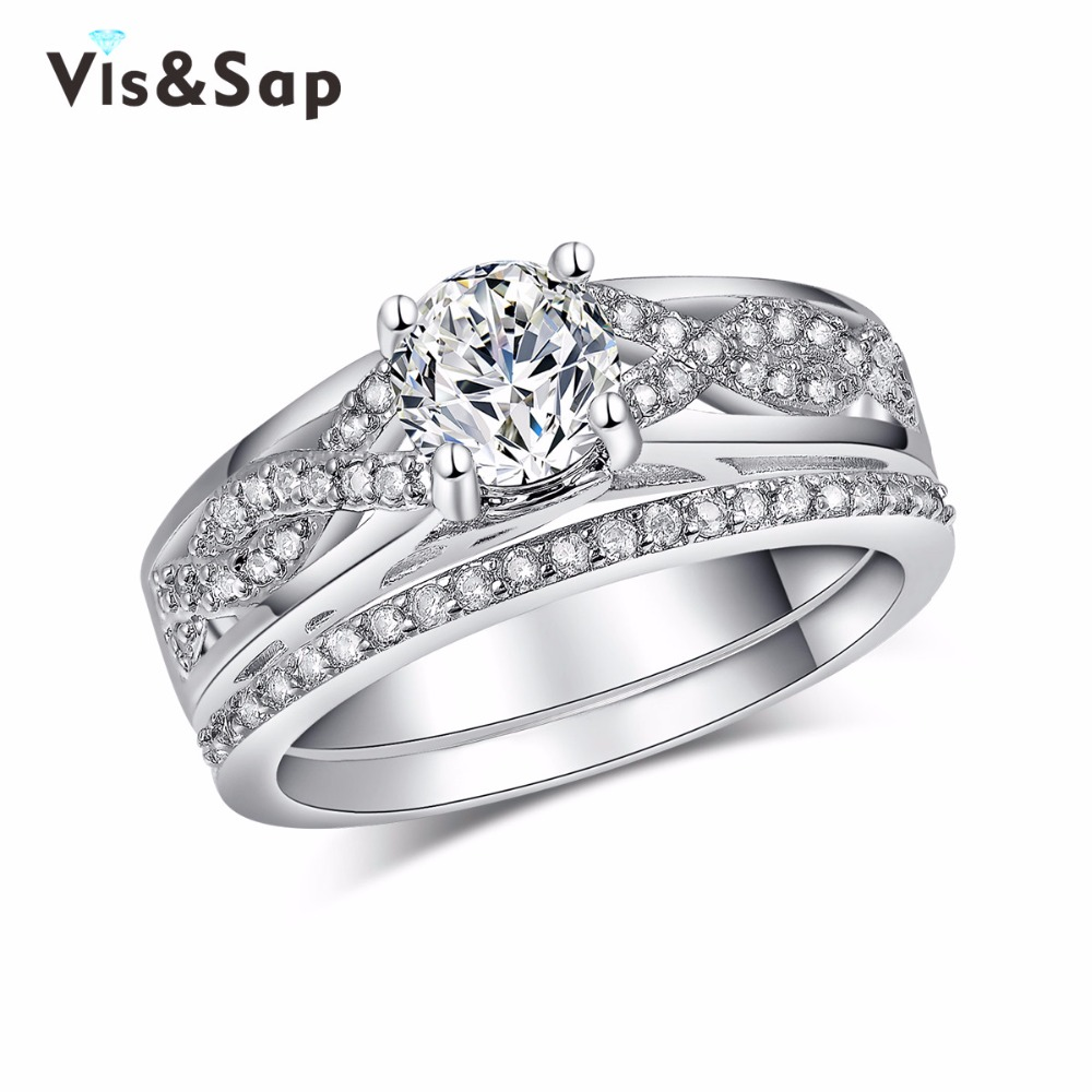 Bridal sets White Gold plated Rings For Women vintage Jewelry Wedding Finger ring AAA zirconia Wholesale high quality VSR186(China (Mainland))