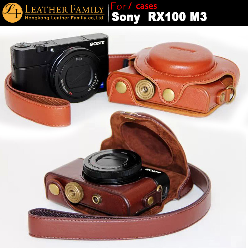 Original High Quality PU Leather Camera Case Bag For sony RX100 III m3 SC-RX100 II RX100M2 leather Case with Neck lanyard brown(China (Mainland))