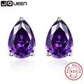 Vintage Purple Amethyst Stone Pierced Earrings Band Quality Small Stud Earrings Sterling Silver Birthday Gift For