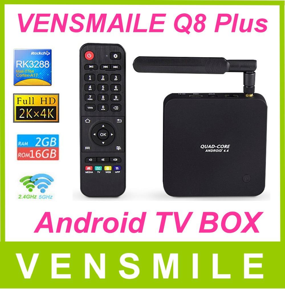 Vensmile original Q8 plus Android TV Box RK3288 Quad Core 4K*2K Media Player 2GB/16GB Bluetooth 4.0 Kitkat 4.4 2.4G/5G(China (Mainland))