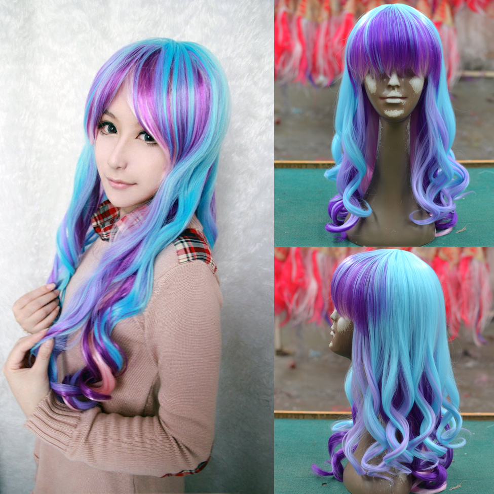 New wig Cosplay Heat Resistant Lolita Long Curly ombre ...