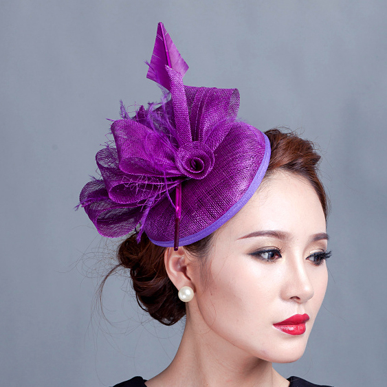 Women purple cocktail hair hat fascinators ladies wedding party fascinator hat race fascinators hats with feather(China (Mainland))