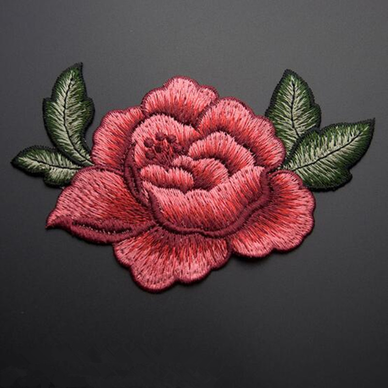 13*9cm 3D rose peony flower patch Embroidered garment Appliques sew On Patches Clothes cheongsam wedding dress Accessory(China (Mainland))