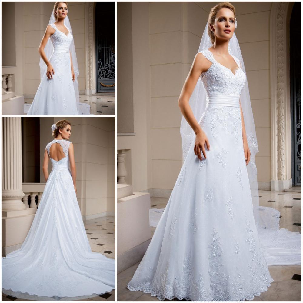 RomanticClassic Lace Pnina Tornai Wedding Dresses Chapel Train vestido de noiva renda V Neck Bridal Gowns Keyhole Ba - German Maria International Dress store