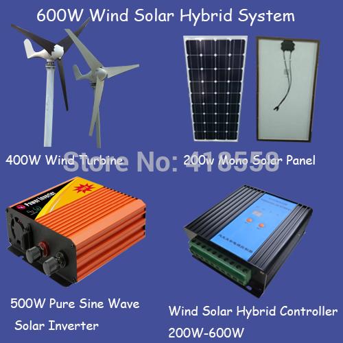 600w wind generator/500w wind turbine/100w solar panel 12v/500w wind solar inverter/600w wind solar hybrid controller(China (Mainland))